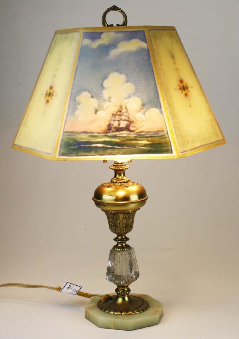 Pairpoint reverse ptd shade lamp- repaired