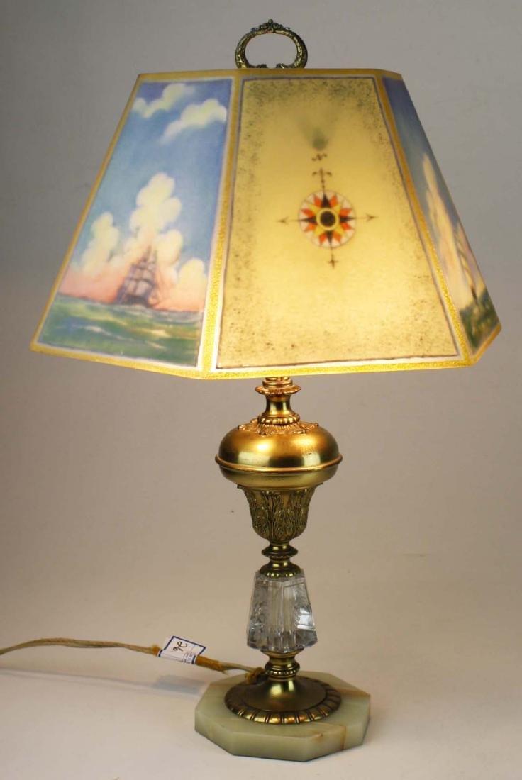 Pairpoint reverse ptd shade lamp- repaired - 2