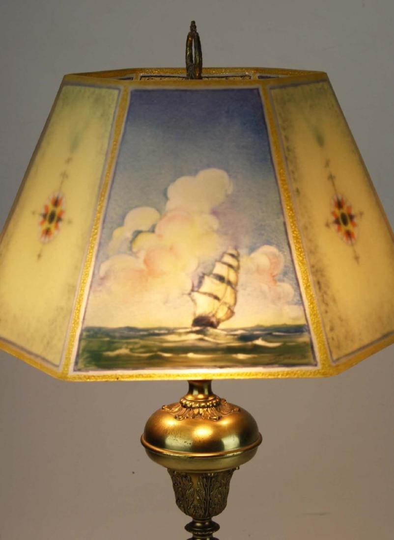 Pairpoint reverse ptd shade lamp- repaired - 5