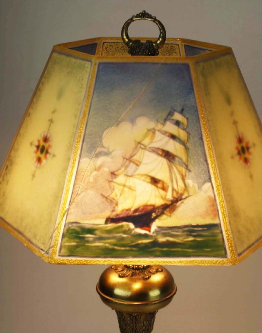 Pairpoint reverse ptd shade lamp- repaired - 6