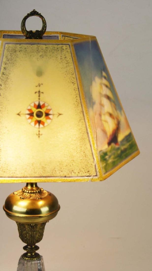 Pairpoint reverse ptd shade lamp- repaired - 7