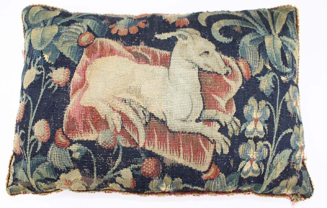 17th c Flemish tapestry fragment pillow