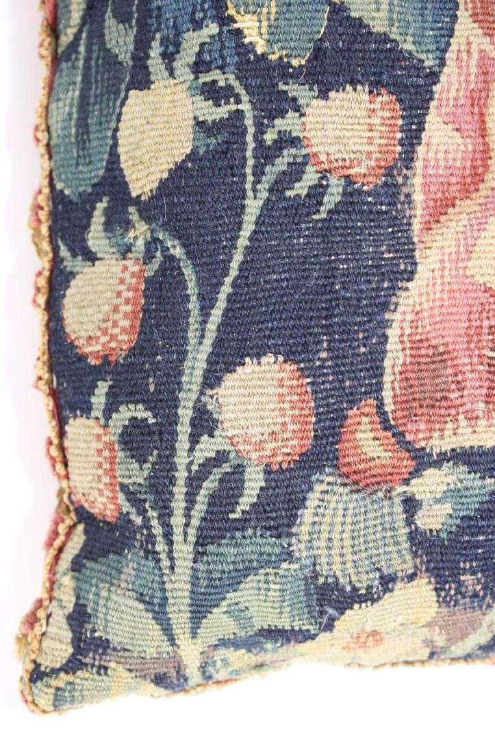 17th c Flemish tapestry fragment pillow - 5