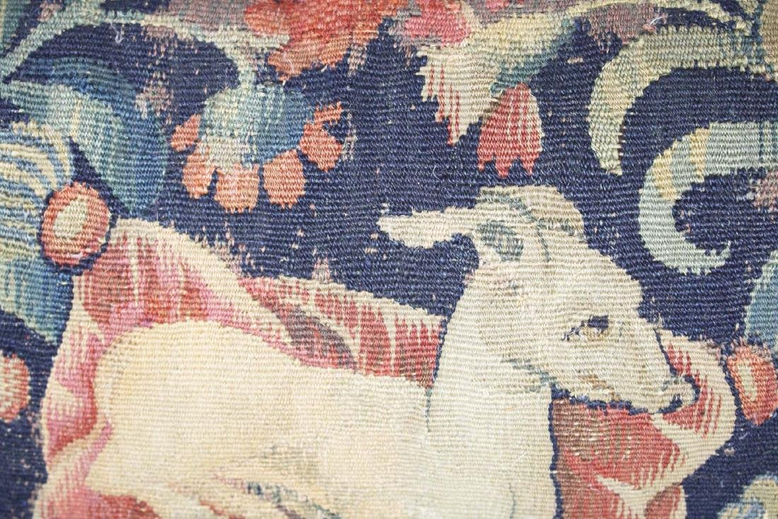 17th c Flemish tapestry fragment pillow - 6