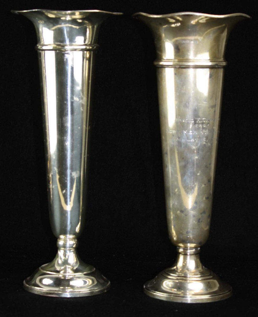 Two sterling silver trumpet vases