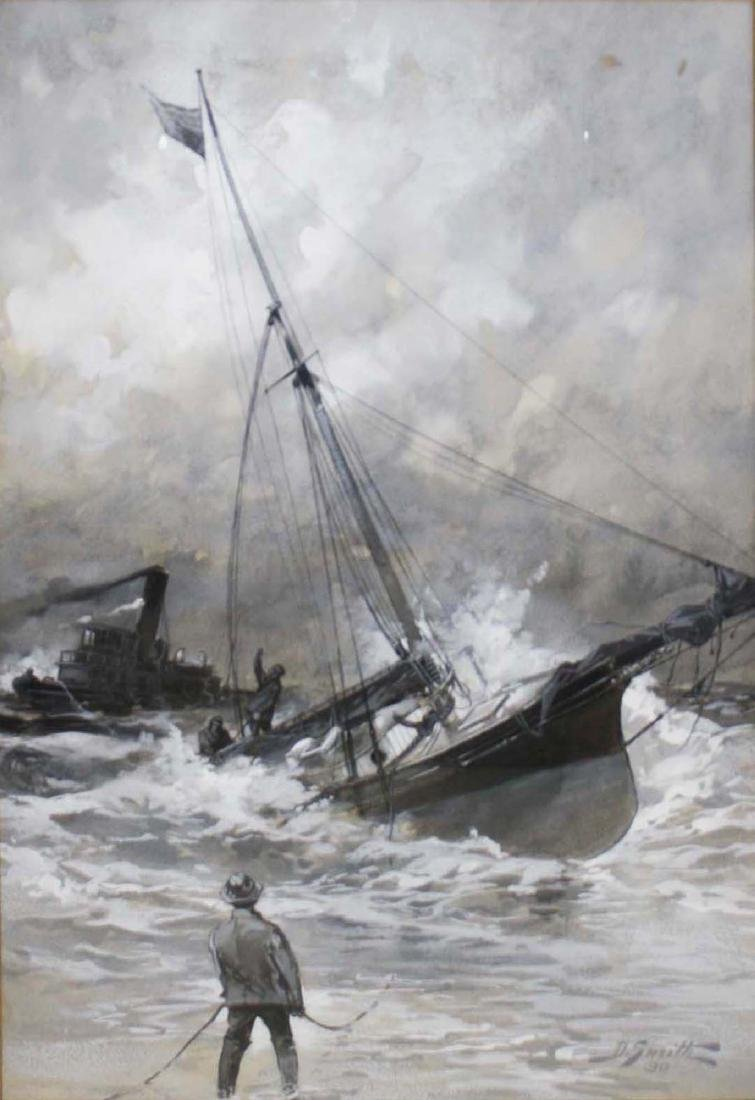 19th c scene with ship in distress
