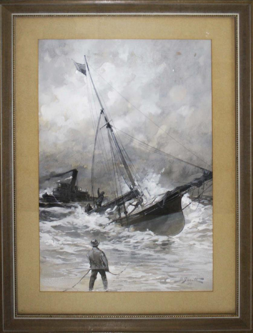 19th c scene with ship in distress - 2