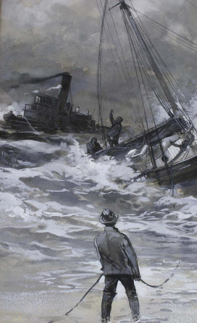 19th c scene with ship in distress - 4