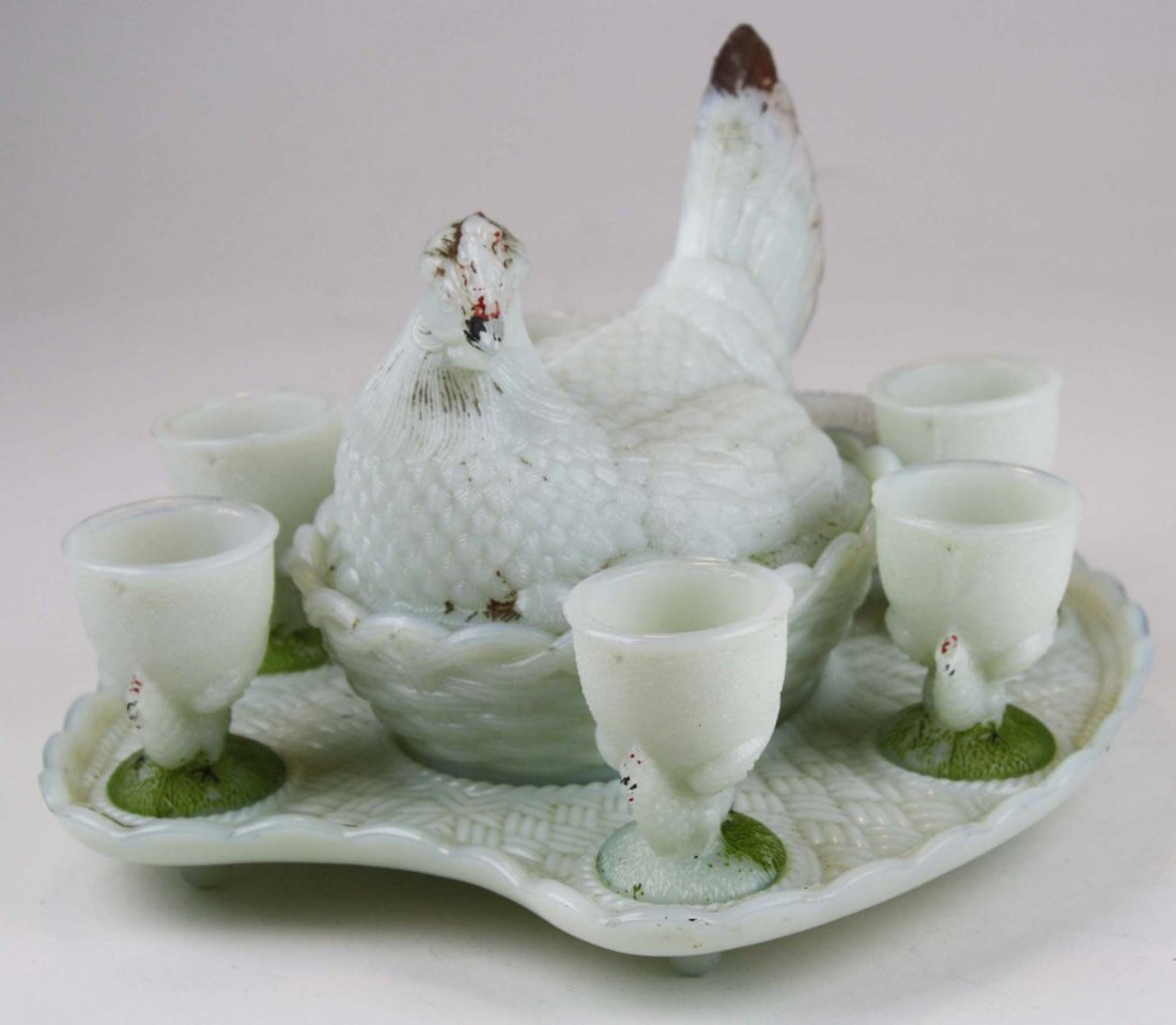 Vallerysthal milk glass hen on nest set - 3
