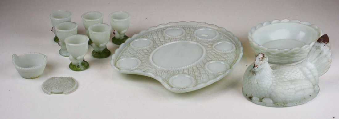 Vallerysthal milk glass hen on nest set - 6