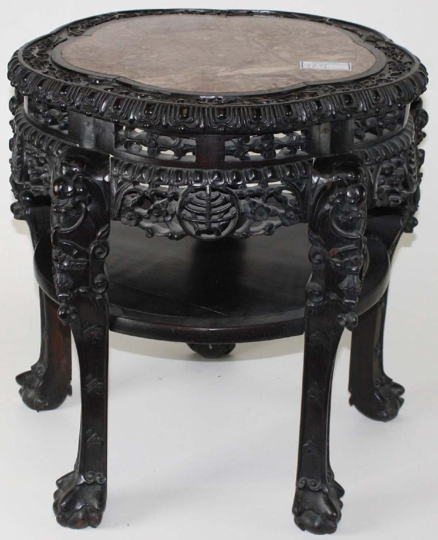Ornate Chinese Marble top stand ca. 1890