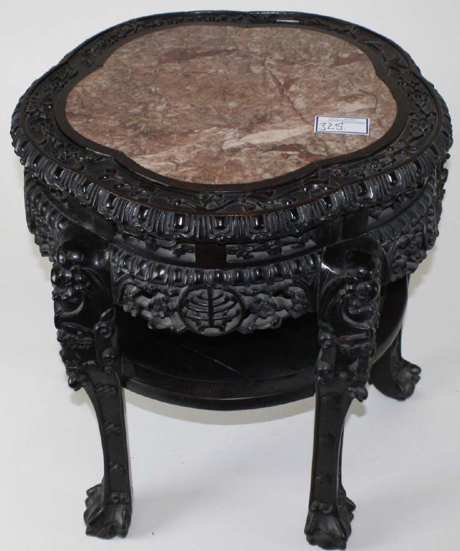 Ornate Chinese Marble top stand ca. 1890 - 2