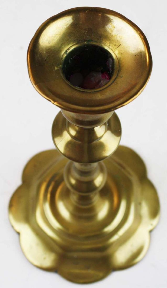 18th c Queen Anne petal base candlestick - 2