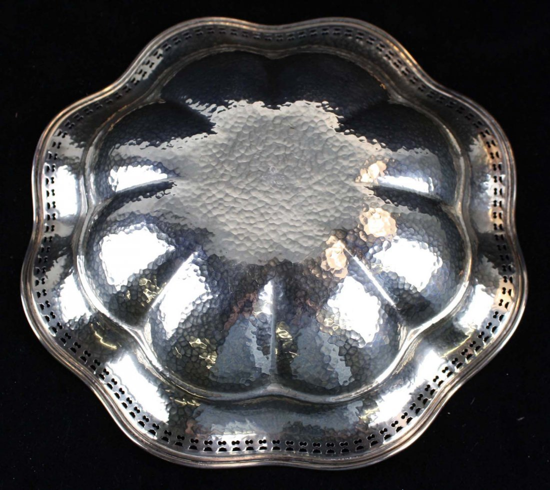 scalloped rim sterling silver serving bowl - 4