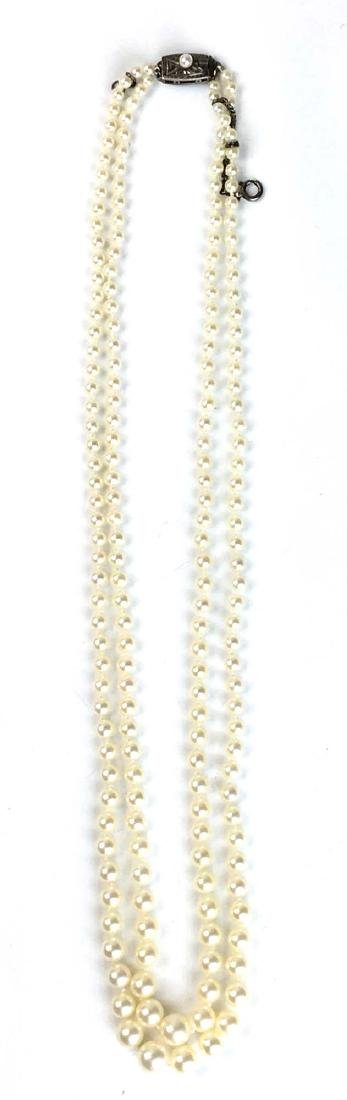 Double strand graduated pearl necklace ca 1950