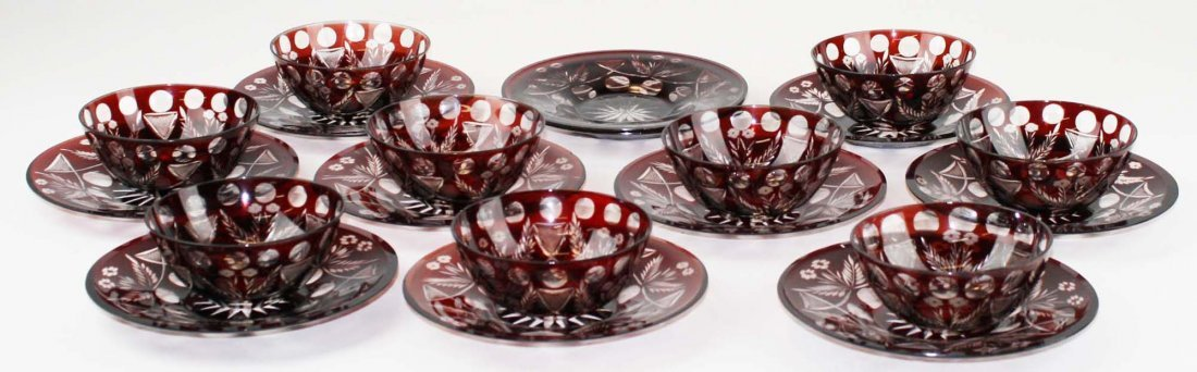 9 Ruby cut to clear glass finger bowls
