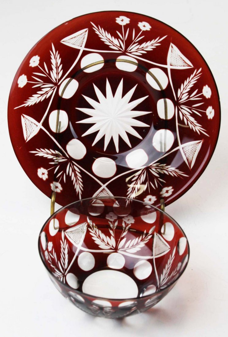 9 Ruby cut to clear glass finger bowls - 2
