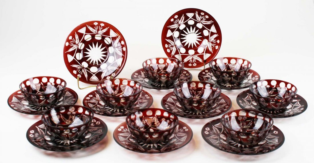 9 Ruby cut to clear glass finger bowls - 3