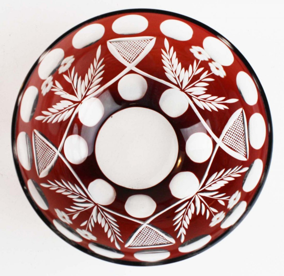 9 Ruby cut to clear glass finger bowls - 4