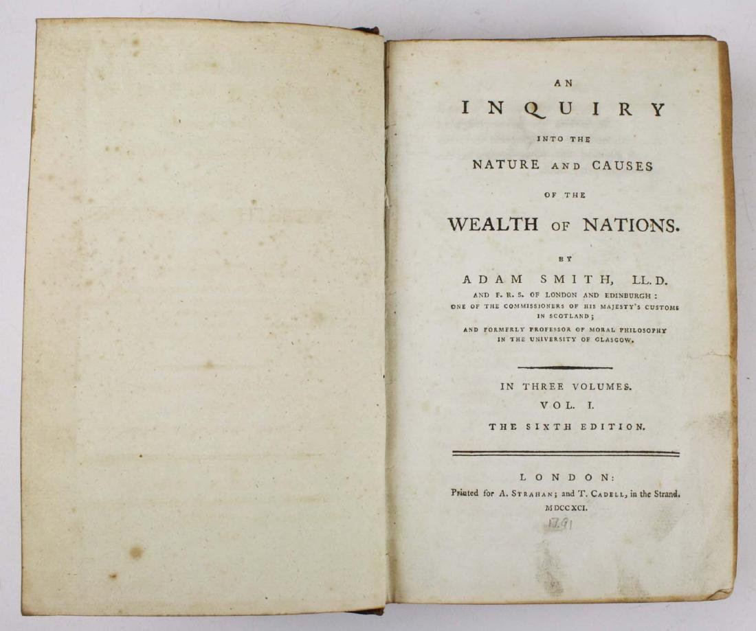"""1791 Adam Smith """"Wealth of Nations"""" vol 1"""