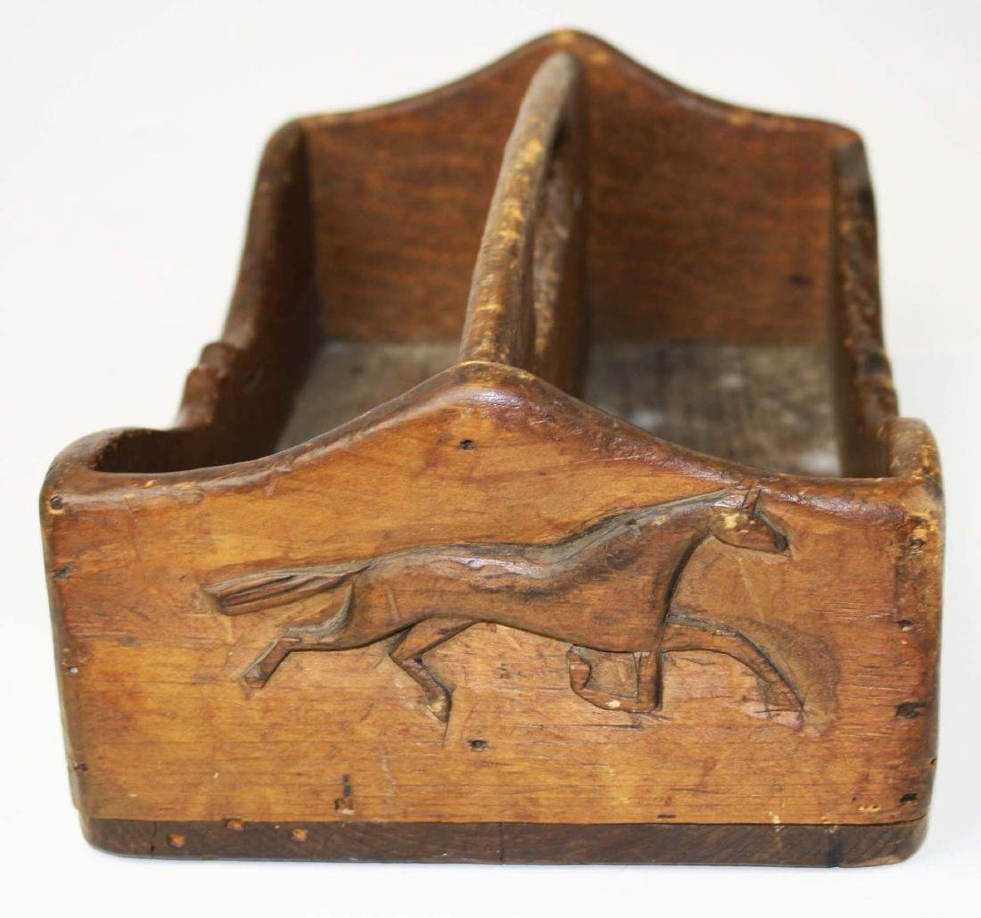 pine tool carrier w/ horse carved end panel