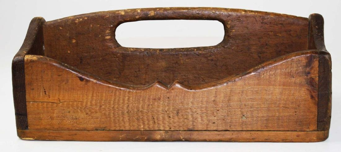 pine tool carrier w/ horse carved end panel - 3