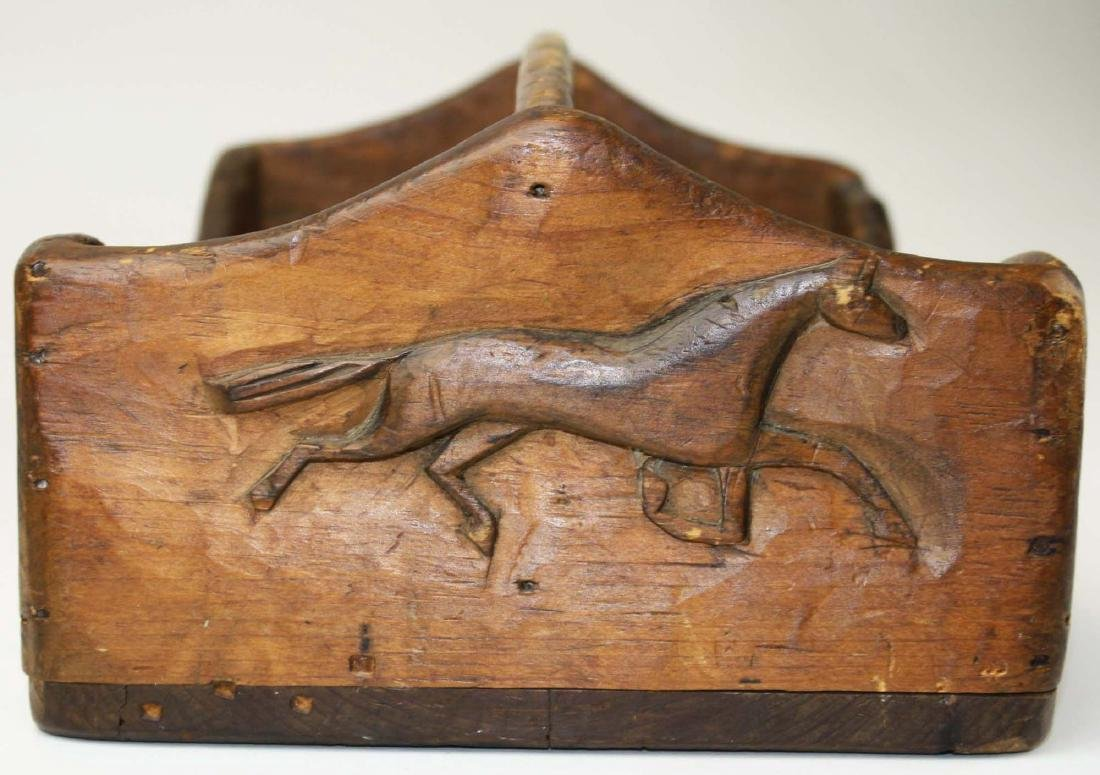 pine tool carrier w/ horse carved end panel - 6