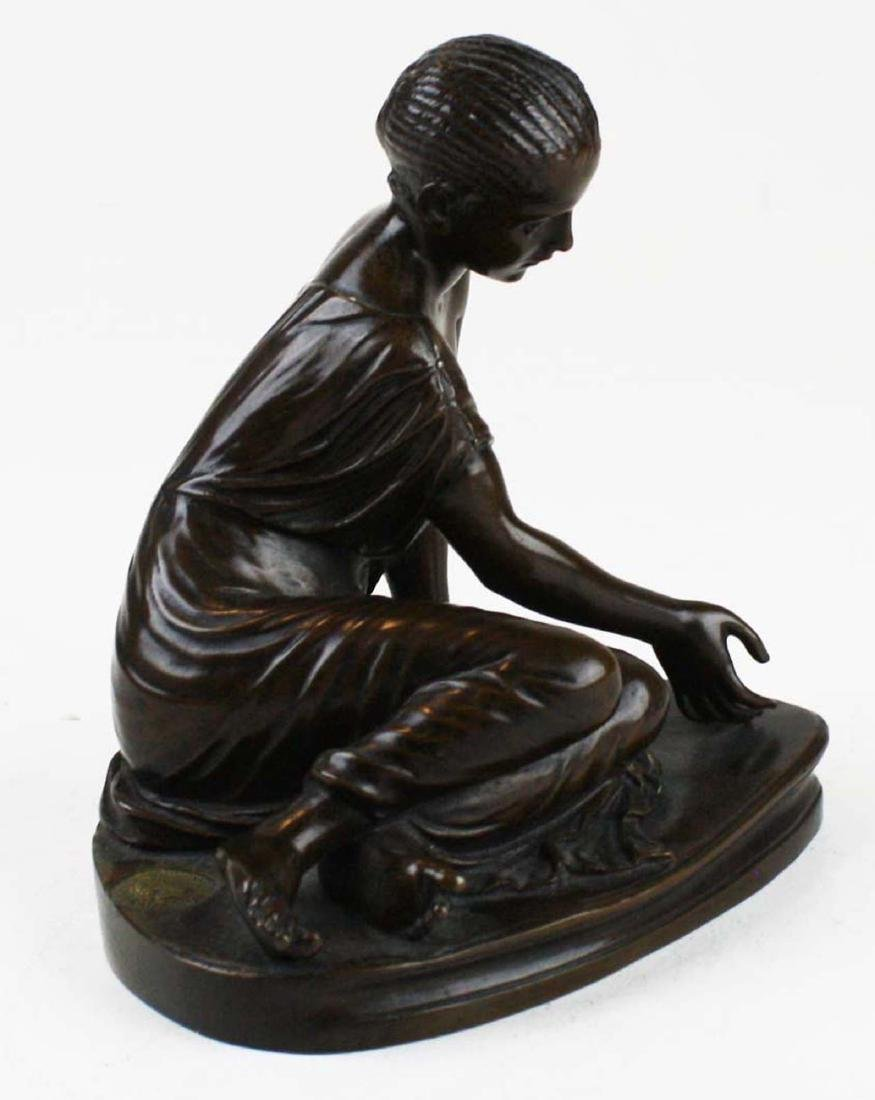 French bronze of girl playing bones by Collas - 2