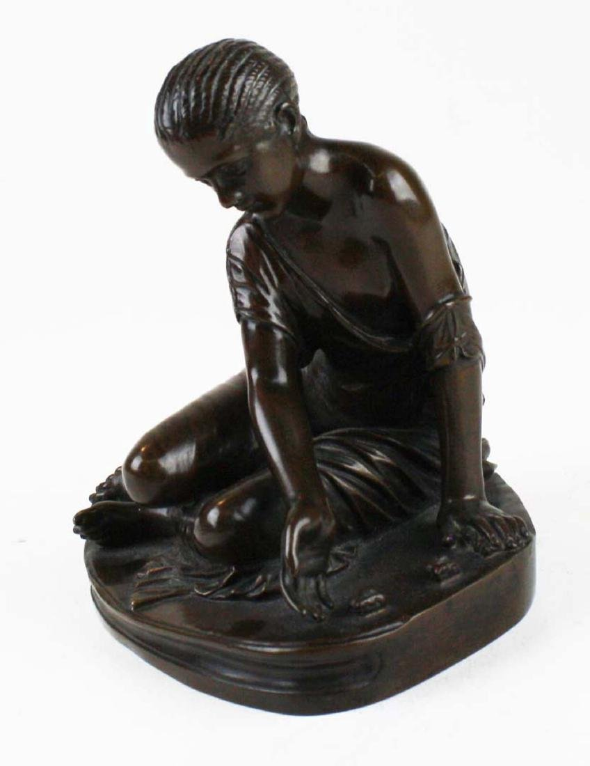 French bronze of girl playing bones by Collas - 5