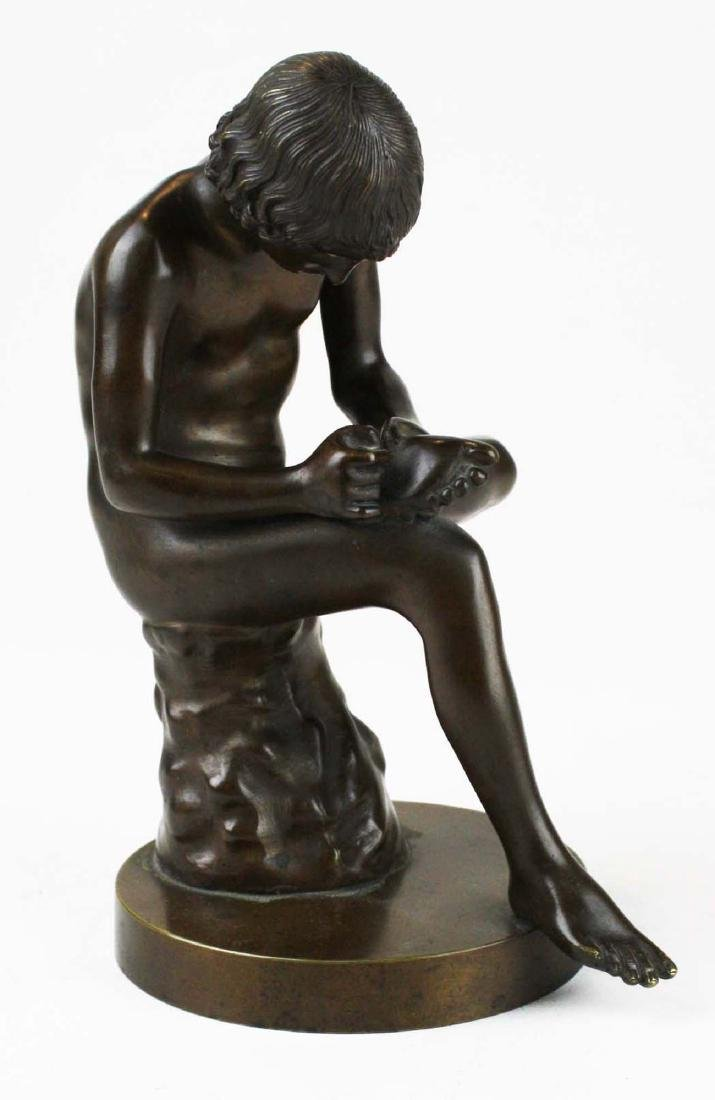 "19th c French bronze ""Spinario"" Boy w/ Thorn - 5"