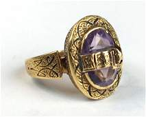 Fine Victorian yellow gold & amethyst ring