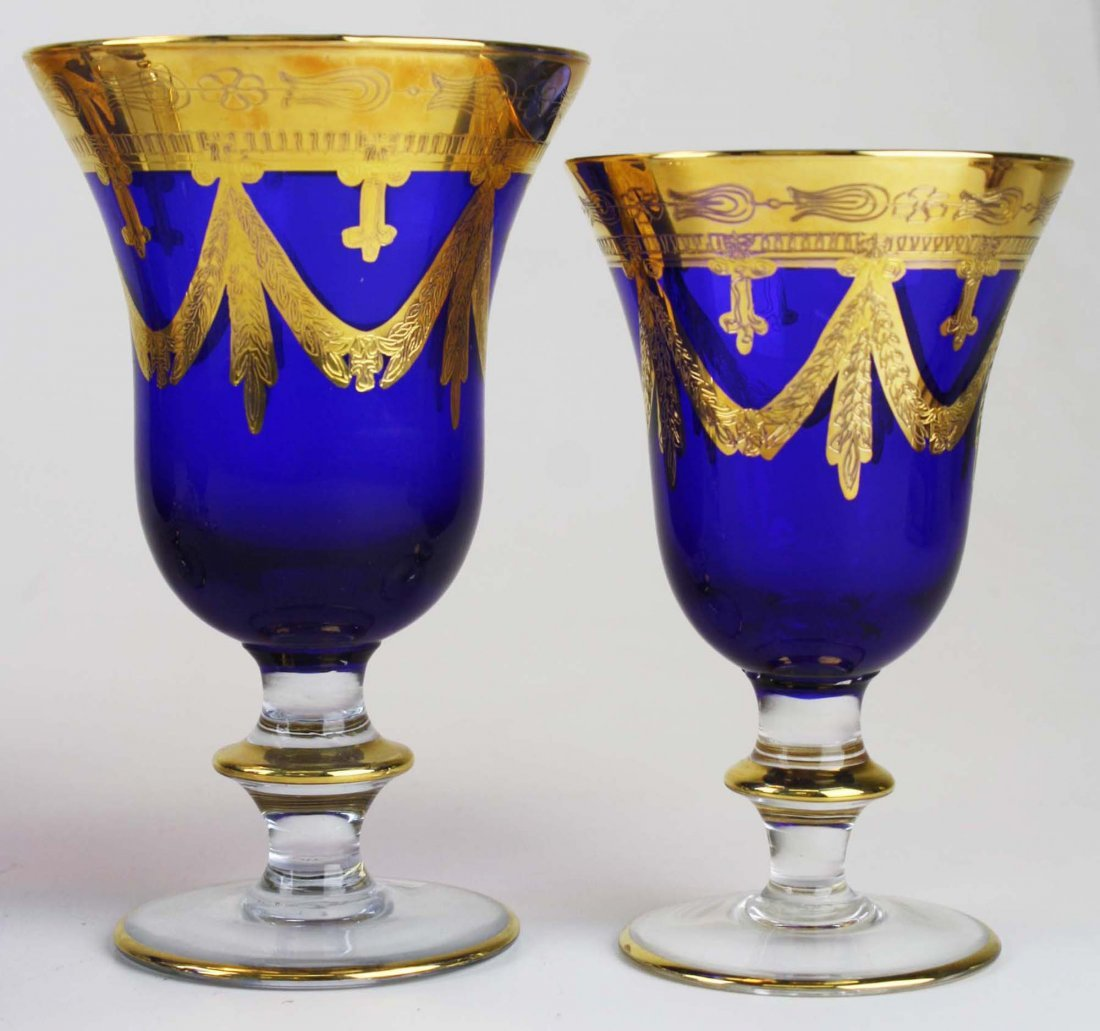 8 Horchow Italian cobalt glass goblets - 2