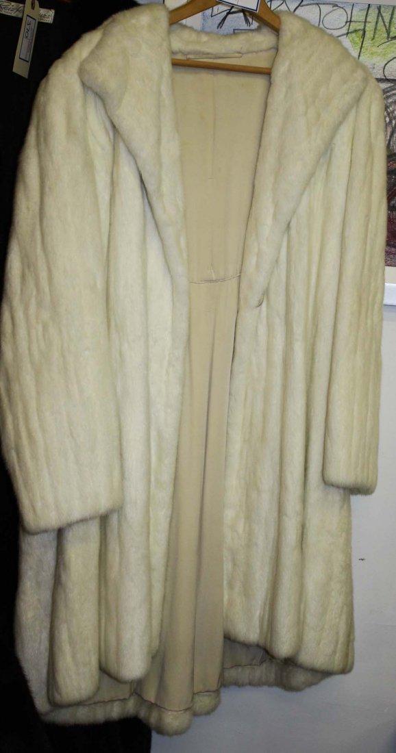 mid 20th c white mink 3/4 length fur coat