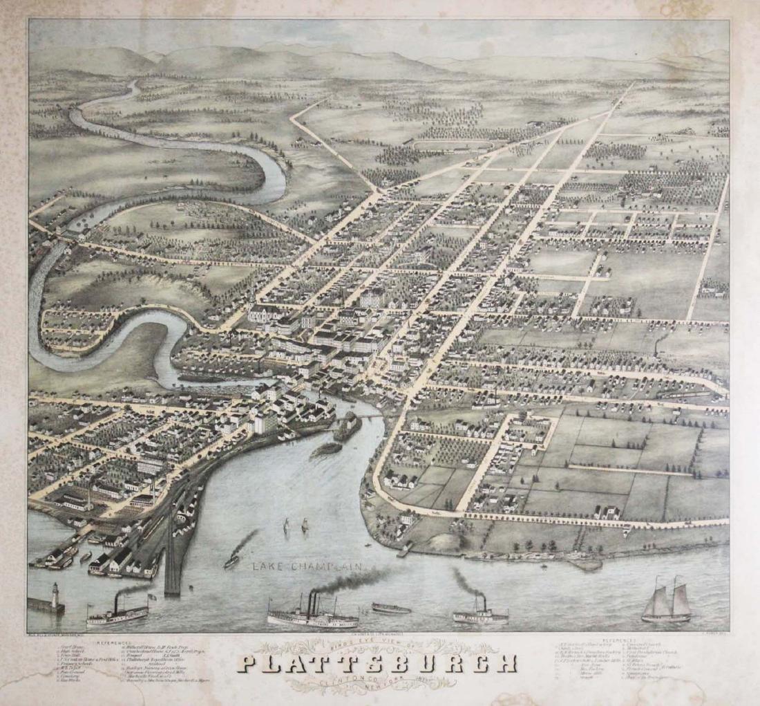 rare 1877 Plattsburgh, NY birdseye view