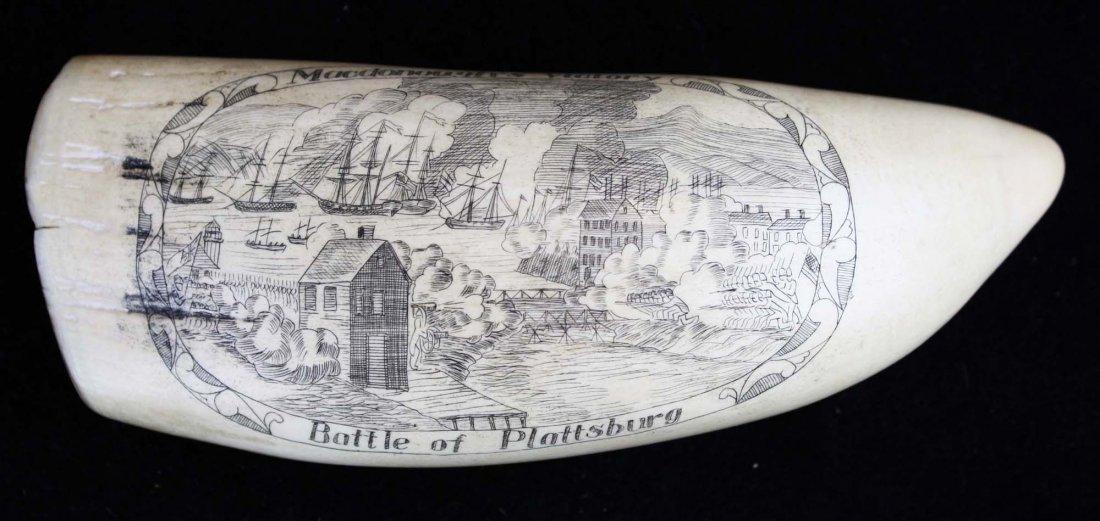 Battle of Plattsburg scrimshaw whale's tooth