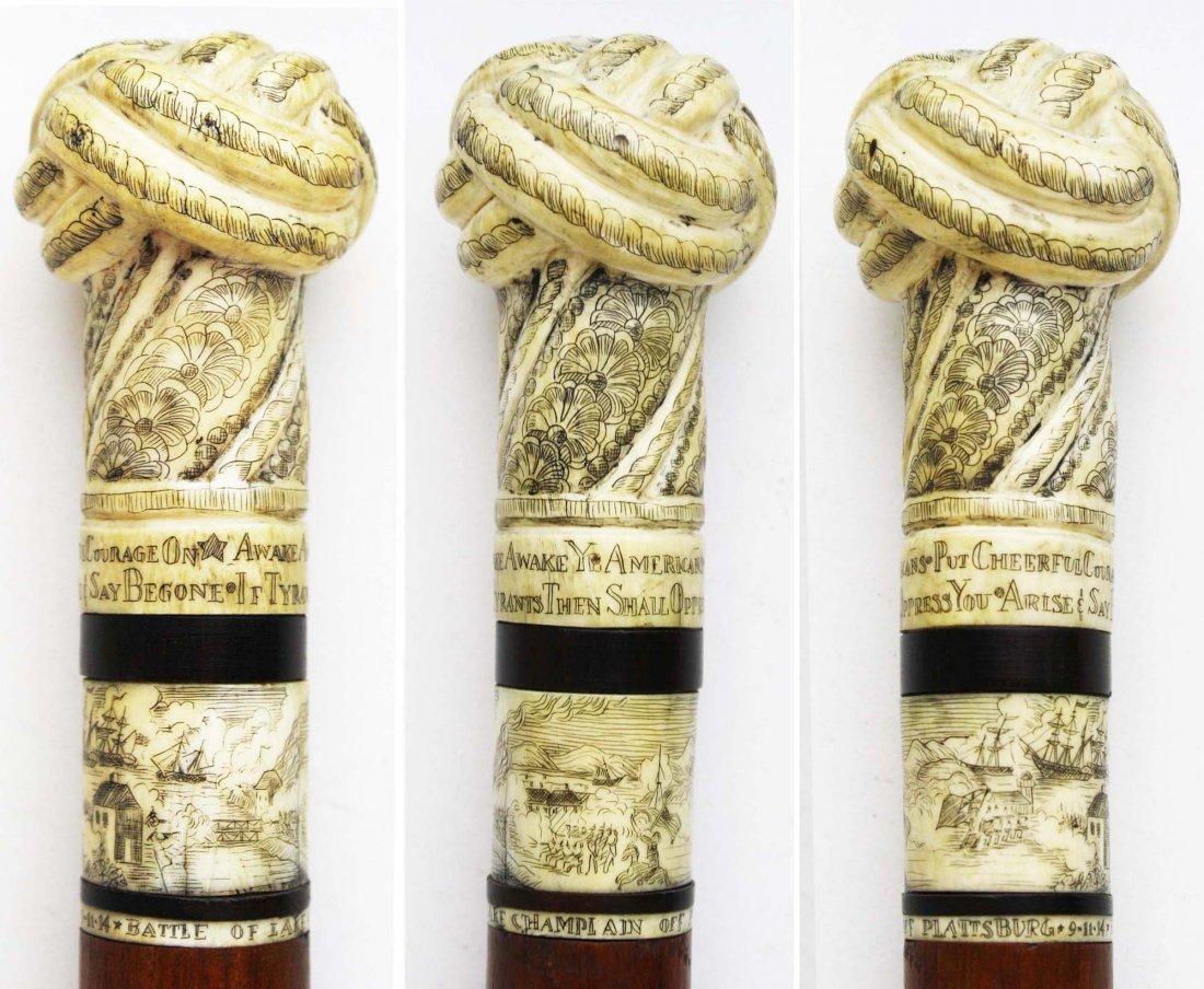 Battle of Lake Champlain scrimshaw cane