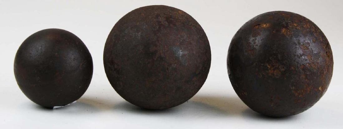 3 historic cannon balls from Gordon collection