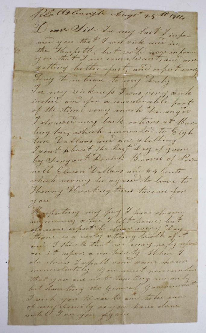 Aug 25, 1814 Crab Island Hospital letter