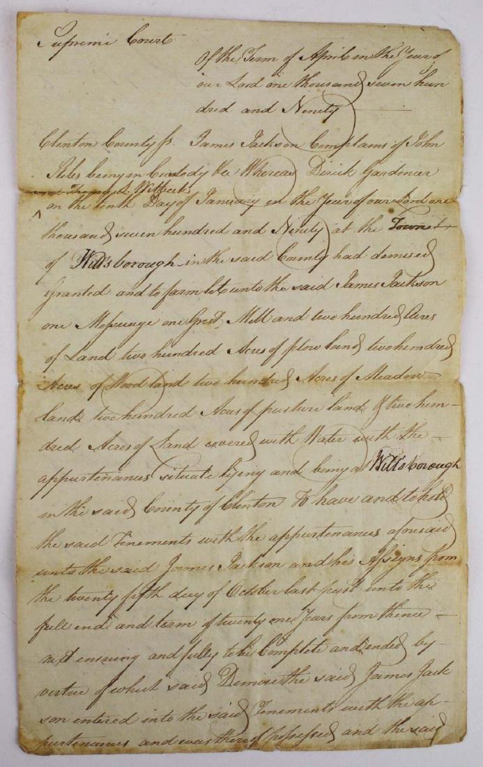1790 Aaron Burr/ John Stiles NY Court doc