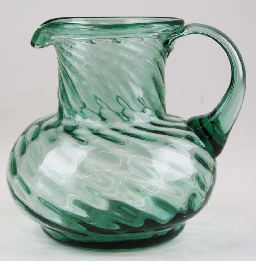 blown swirled aqua glass pitcher