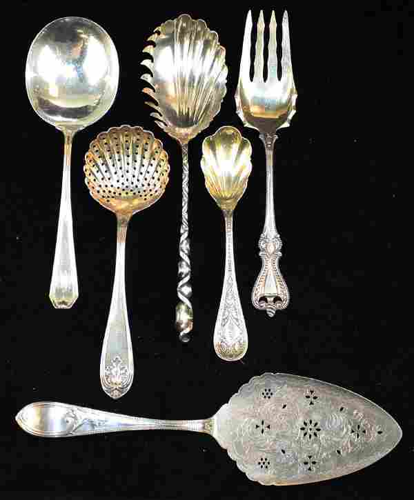 6 pcs sterling and coin silver flatware