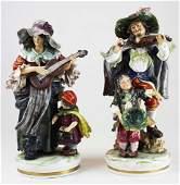 pr of Capodimonte porcelain figures