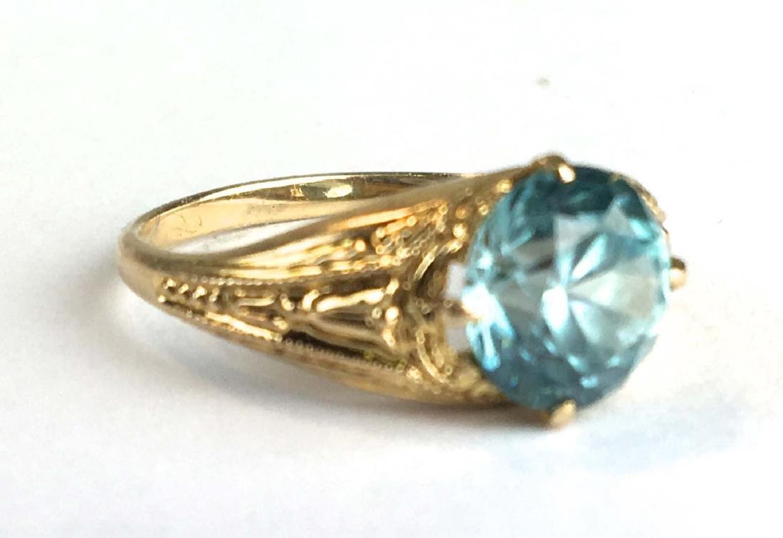 14k y g blue topaz ladies ring