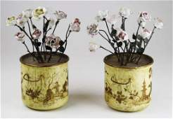 pr of French chinoiserie faux planters