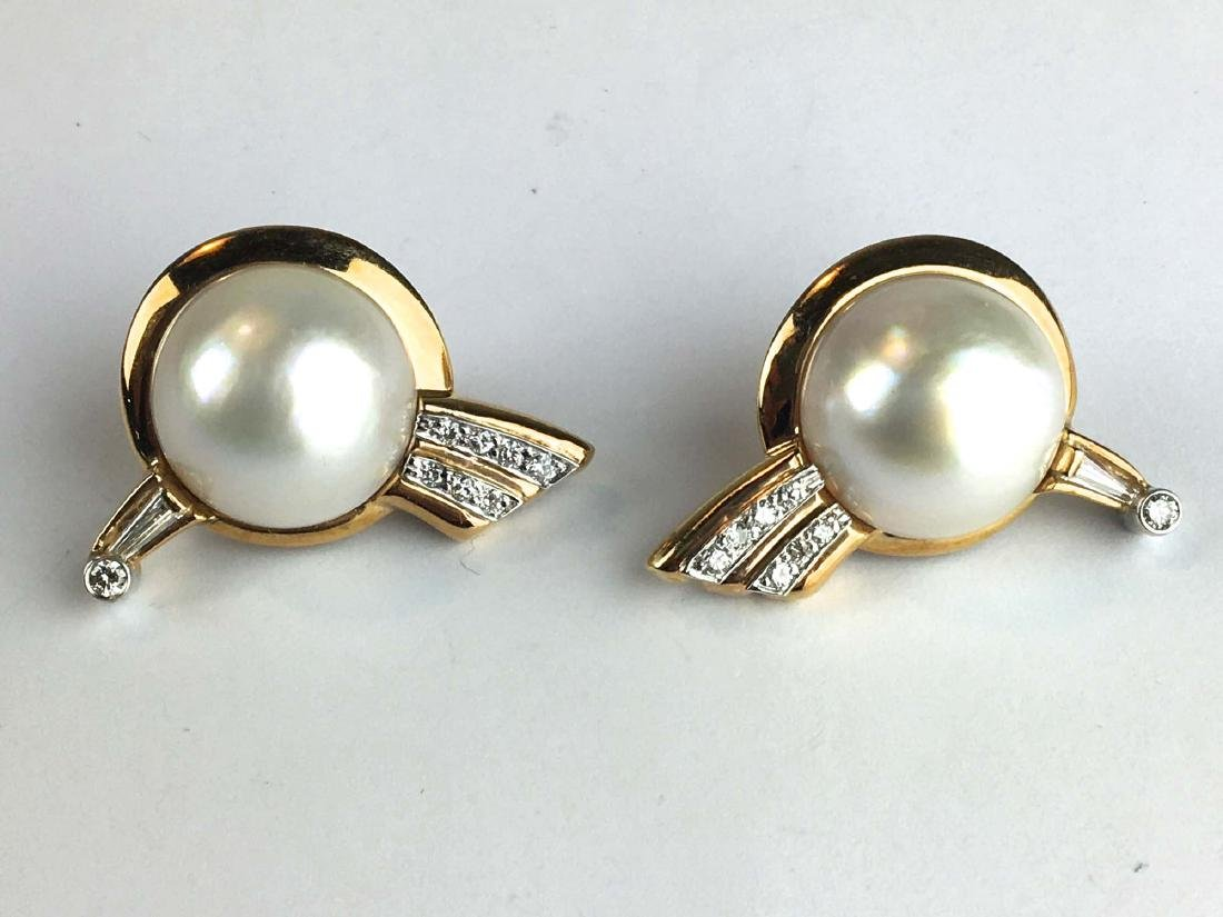 Pair of 14k y g, mabe pearl, and diamond earrings