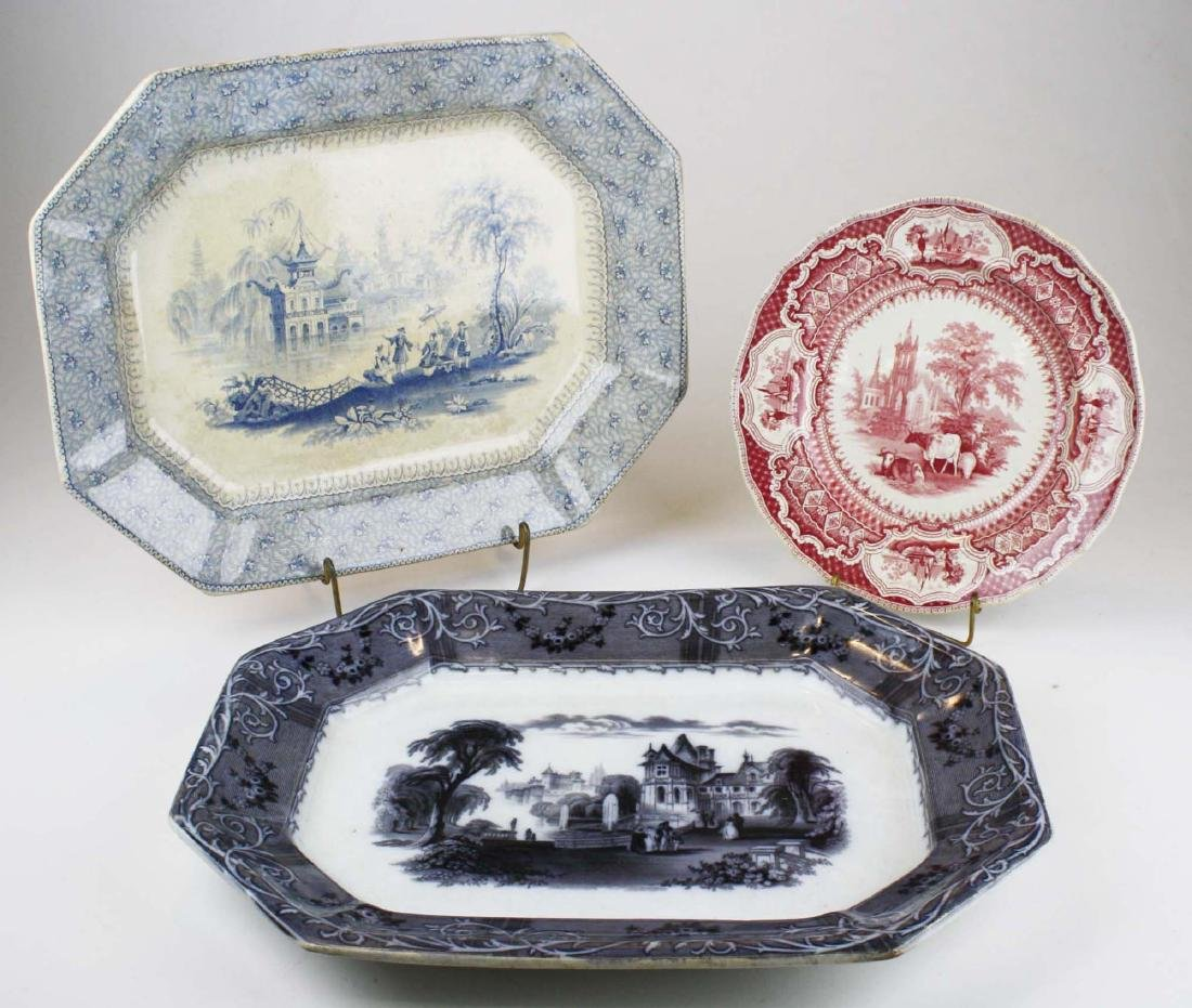 3 pcs 19th c. transferware pottery
