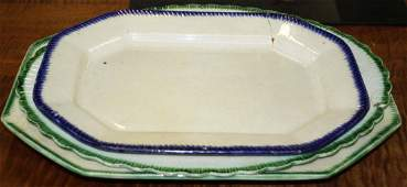 3 Leeds soft paste porcelain platters
