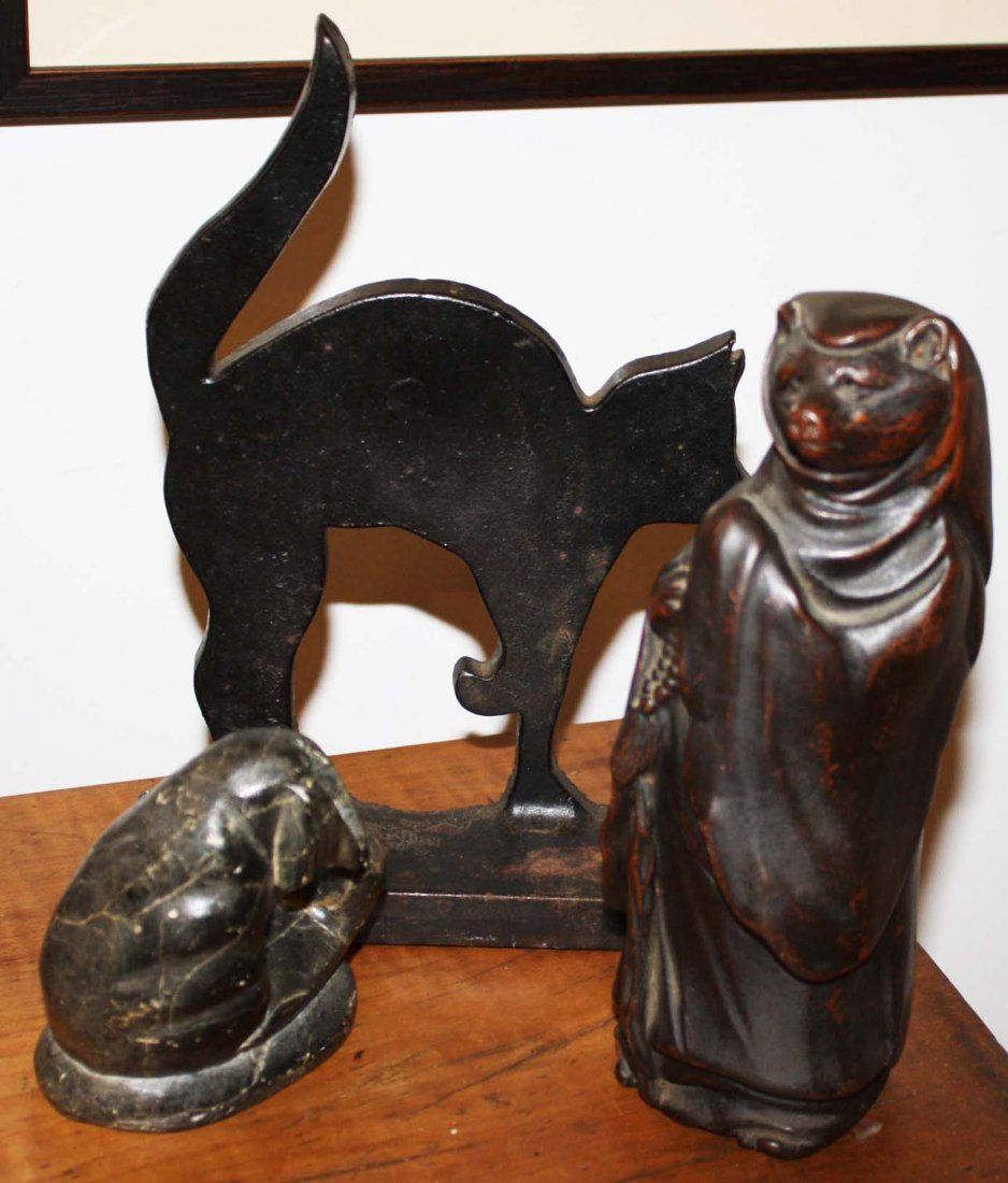 cat doorstop, Inuit carving, Japanese figure