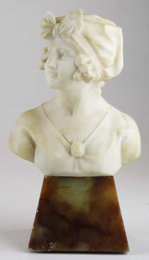 ca 1920's Deco white marble bust signed R ScPeggi