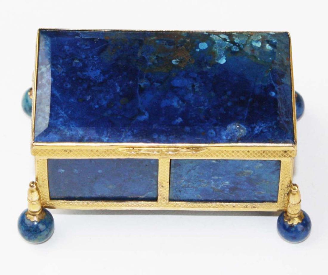 1880 Austro-Hungarian lapis lazuli gilt bronze casket